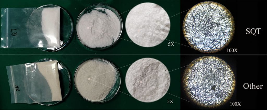 Comparison of the purity of different brands under the microscope