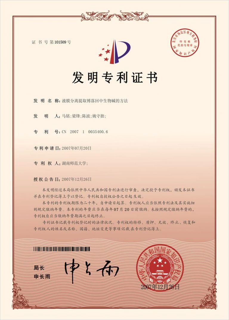 Authorized Invention Patent-09